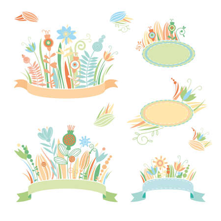 Set of frames and floral bouquets Illustration