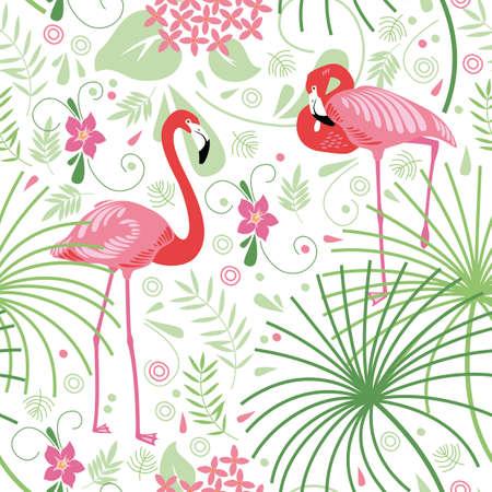 シームレスな花柄、ピンクのフラミンゴ