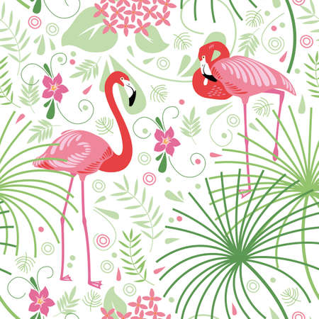 tropique: Seamless floral, flamant rose