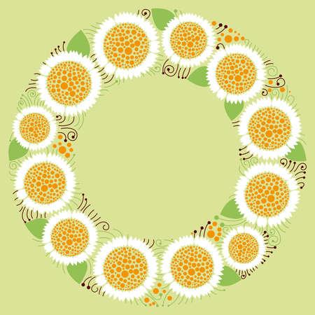 floral background, floral frame, chamomile