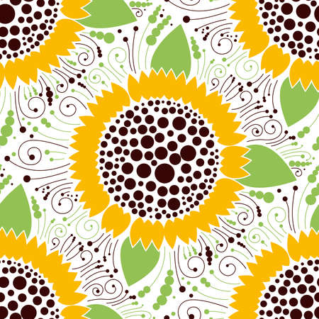 Seamless floral pattern, sunflower