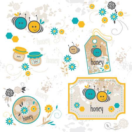 bee, set of illustrations