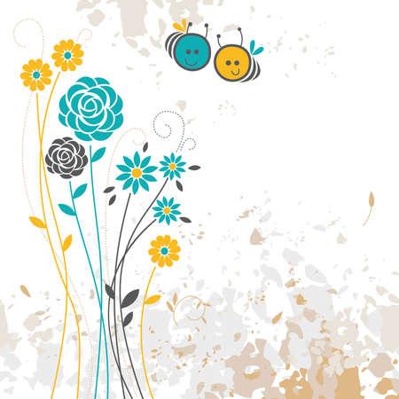 floral background, bee Illustration