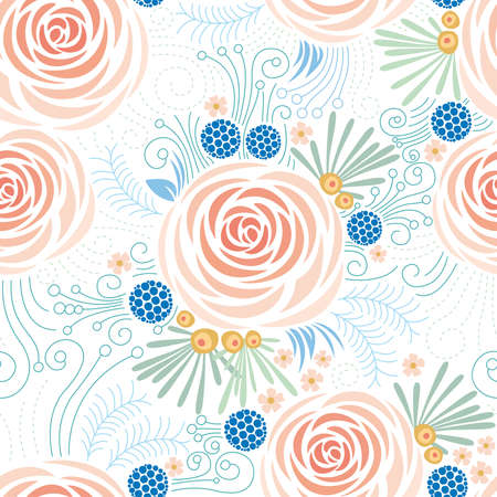 Seamless floral pattern, Peonies