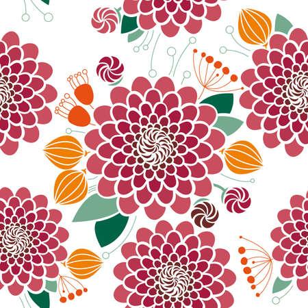 Seamless floral pattern, dahlias