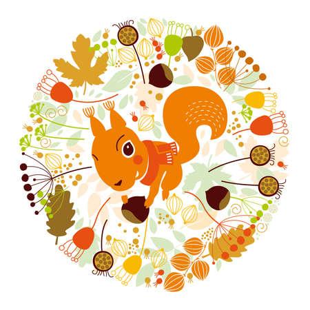 Autumn illustration, squirrel