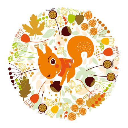 Autumn illustration, squirrel