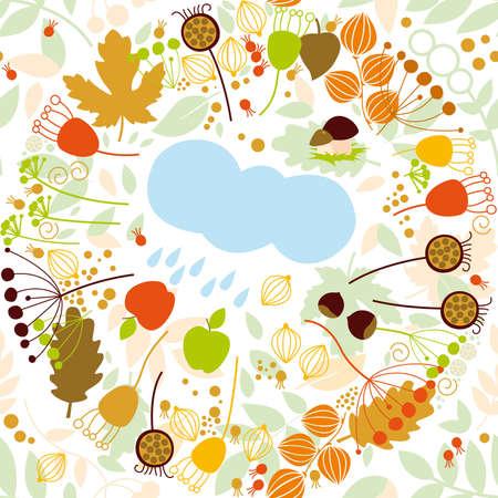 Seamless pattern, autumn, rain