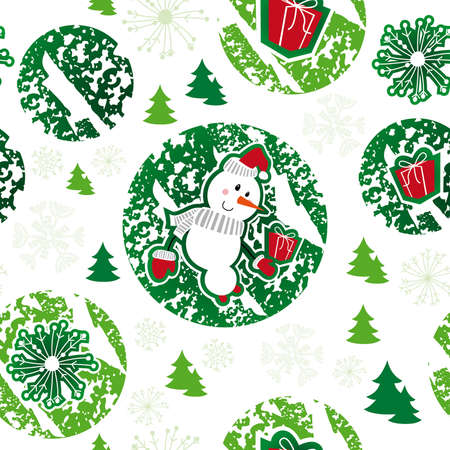 seamless pattern, merry christmas, snowman
