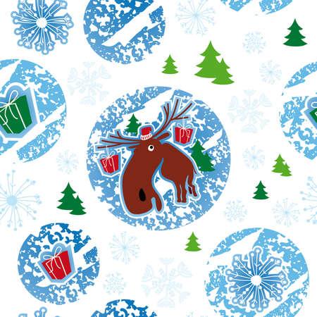 seamless pattern, merry christmas, moose Illustration