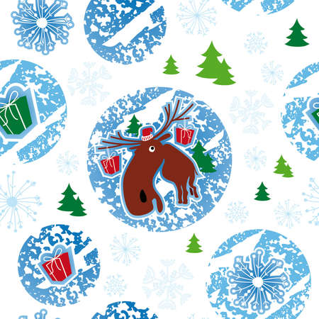 seamless pattern, merry christmas, moose Illustration