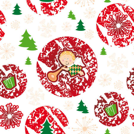 seamless pattern, merry christmas, angel Illustration