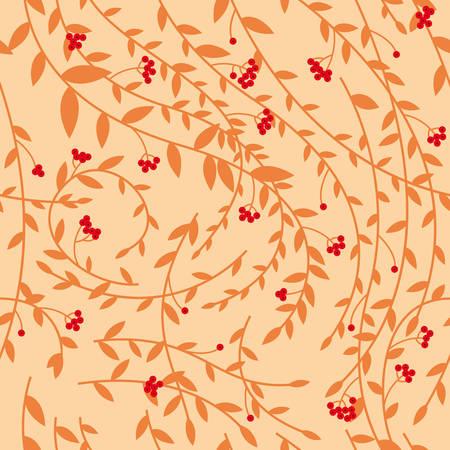 Seamless floral pattern, berries