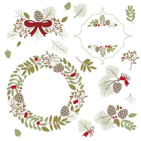 Set of frames and floral elements Illustration