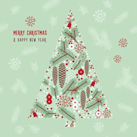 adornos navideños: Ilustración del invierno, Árbol de navidad
