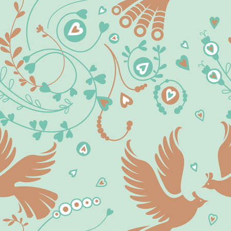 Seamless floral pattern, birds Illustration