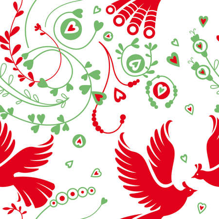 Seamless floral pattern, birds Illustration