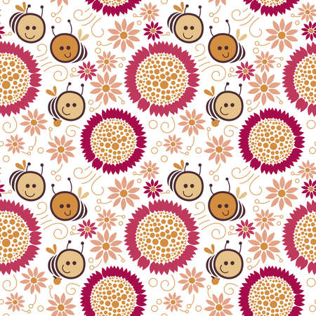 Seamless floral pattern, bee Illustration