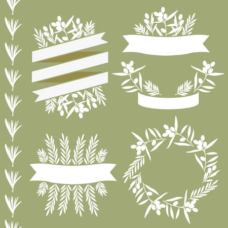 Set of frames and graphic elements, olive