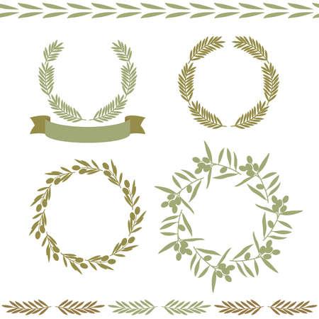 lments graphiques: Ensemble de cadres et �l�ments graphiques, oliviers