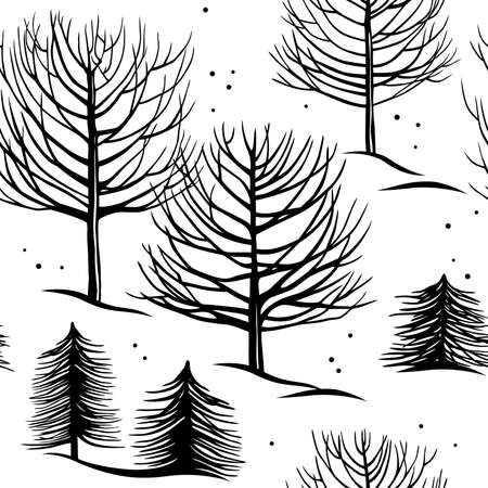 seamless pattern, winter forest