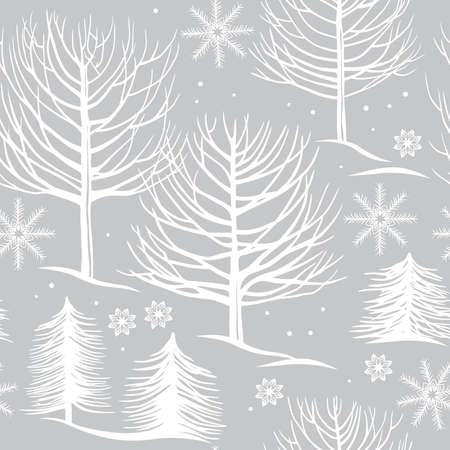 seamless pattern, winter forest