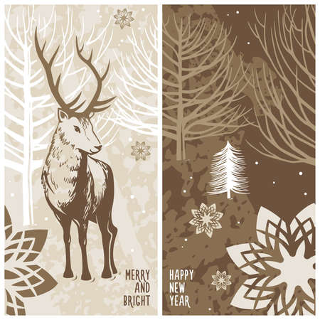 winter card, deer