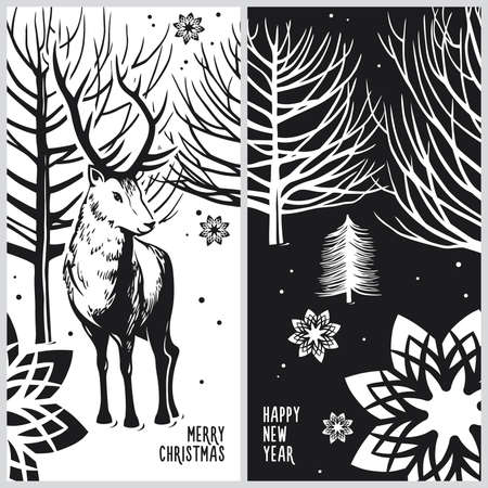winter card, deer