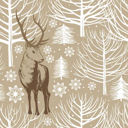 winter seamless pattern, deer