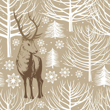 winter seamless pattern, deer
