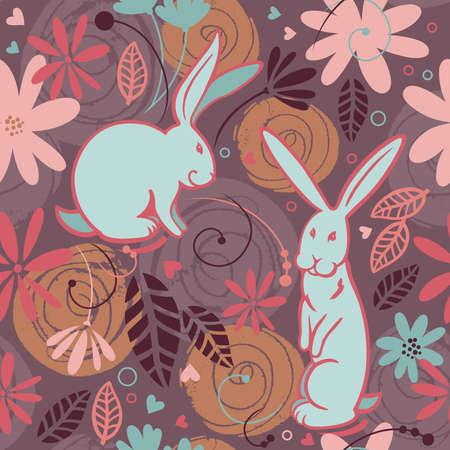 seamless pattern, bunny Illustration