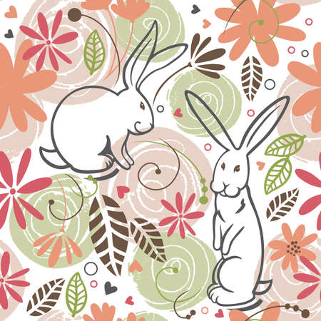 herz: seamless pattern, bunny Illustration