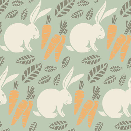 seamless pattern, bunny, carrots Illustration