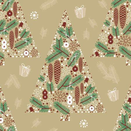 winter seamless pattern, Christmas tree