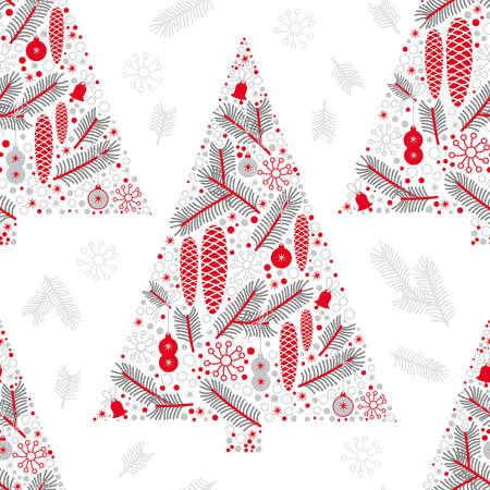winter seamless pattern, Christmas tree