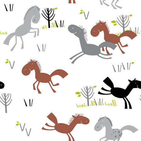 Seamless pattern with little horses