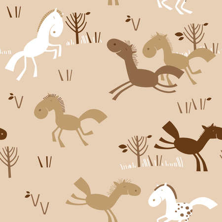 Seamless pattern with little horses in brown