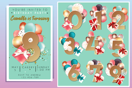 Birthday party invitation template with numbers Illustration