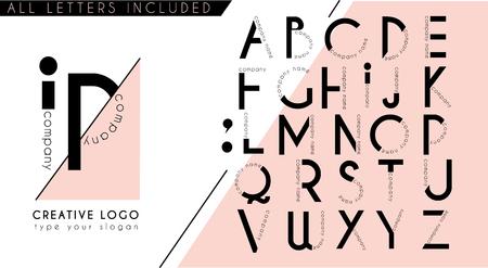 Minimal creative logo initial monogram letter design template in plack pink geometric stye