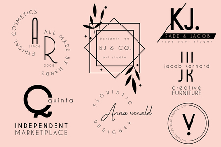 elegant clean minimal feminine logo template design collection Stock Illustratie