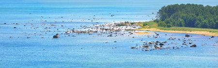 Panoramic aerial view of the Baltic sea shore, Hiiumaa island, Estonia. Blue water, stones, sandy beach and pine trees. Travel destinations, nature, ecotourism Stock Photo