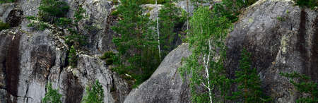 Granite rocks and cliffs in Finland, texture close-up. Picturesque panoramic scenery. Dark atmospheric landscape. Pure nature, ecology, environmental conservation, eco tourism, travel destinations