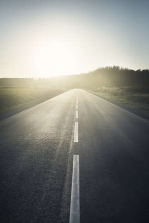 An empty motorway on a hot summer day at sunset. Forest in the background. Driving a car through the country fields. Leisure activity, recreation theme. Latvia 스톡 콘텐츠