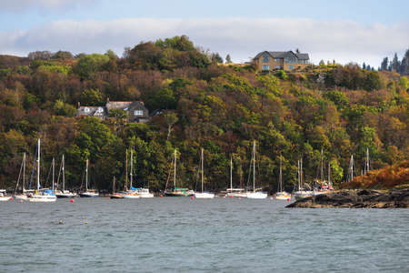 Sloop rigged yachts anchored on mooring near the rocky shore of Crinan canal. Forest hills and country houses in the background. Argyll and Bute, Scotland, UK