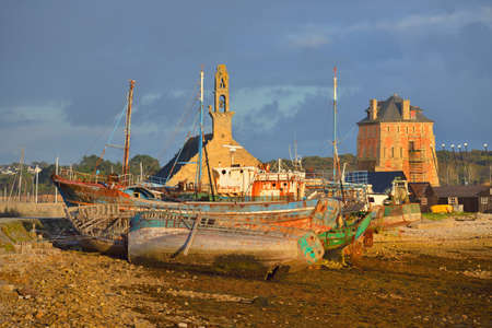 Old fishing boats standing on land. Camaret sur Mer, France. Panoramic view. Travel destinations, nautical vessel, transportation, sport, regatta, leisure activity, recreation, vacations