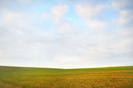 Picturesque panoramic scenery of the green plowed agricultural field. Dramatic sky with glowing clouds, sunlight. France, Europe. Autumn, seasons, warm winter, climate change, tourism, farm industry