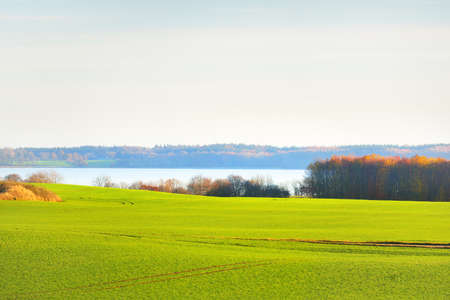Green hills and country agricultural plowed field with tractor tracks at sunset. Forest and river in the background. Picturesque panoramic autumn scenery. Pure nature, ecology, seasons. Germany