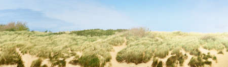 Sand dunes and dune grass at the North sea shore in Vlissingen, the Netherlands. Clear sunny day. Blue sky with lots of white clouds. Idyllic landscape. Travel destinations, tourism, vacations