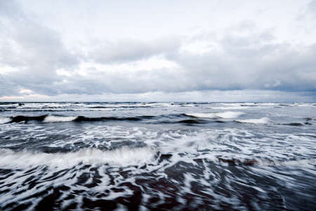 Cold stormy waves and clouds over the North sea, Netherlands Stok Fotoğraf
