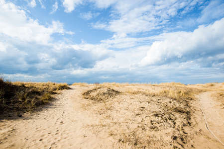 Spring landscape. View of the coast of the Baltic Sea on a clear sunny day. Latvia Standard-Bild